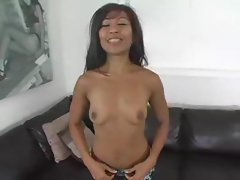 Asian young woman banged until he facials her