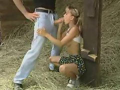 Cutie shagged by a extremely big cock in the hay