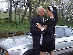 French maid banged outdoors in the naughty ass