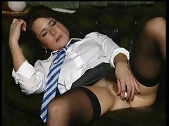 Schoolgirl with hirsute cunt strip and toy fuck