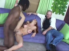 Hubby watches dirty wife go ebony with fat dick