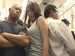 Enormous tits Girlie molested on a train