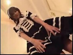 Sensual japanese French maid stroking phallus and screwing