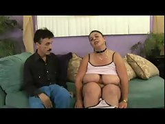 Obese in a collar loves a shaft in her snatch
