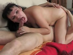 Mommy seduces him with kissing and a BJ