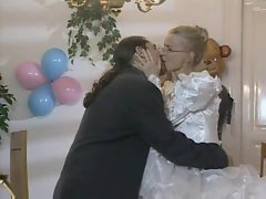 Bride in glasses has dick in her dirty ass