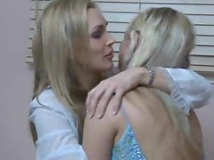 Tempting 18yo young woman in a prom dress has lesbo sex