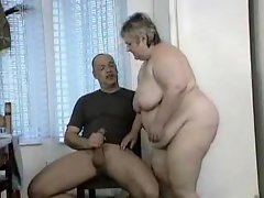 Obese babe on the table banged brutal