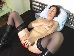 Big red toy vibrating her mommy snatch