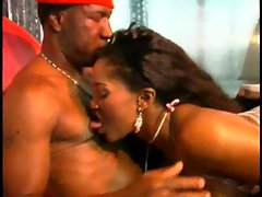 Ebony nympho excites him with her mouth