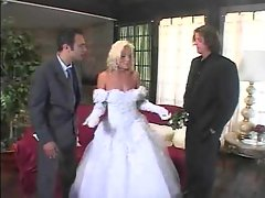 Slutty girl in wedding dressed stripped and double grinded