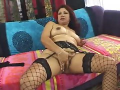 Solid Latina plugged in hirsute twat