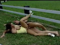 They fuck outdoors in the grass field