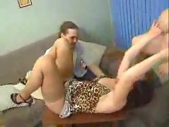 Two buxom housewives in trio with him