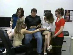 Four office slutty chicks play with his shaft