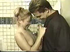 Sizzling teen in the bathroom drilled
