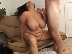 Curvy stepmom with big attractive hooters banged