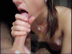 He cums in her mouth as she deepthroats him
