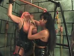 Lesbo femdom in the dungeon is luscious