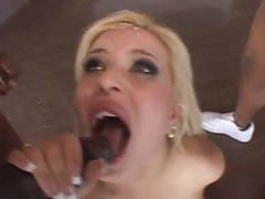 She deepthroats thick black shaft