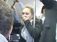 Sensual chick is fingered on the bus