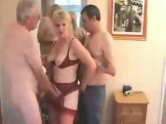 Experienced slutty wife and hubby joined by new man