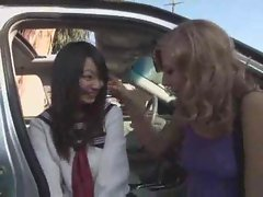 Seductive Asian schoolgirl has interracial triple outdoors