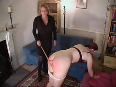 Butch spanking and a light caning