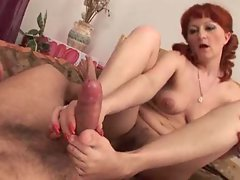 Redhead in pigtails grinded in moist pussy