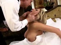 Lovely bride taking penis on her wedding day