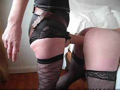 Sissy in stockings accepts big strapon