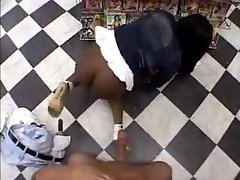 Black lassie with huge dirty ass banged in video store