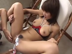 Chick in kinky lingerie has twat shaven