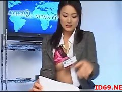 Sensual japanese models fingered during the news