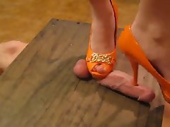 Gal in high heels crushes his shaft