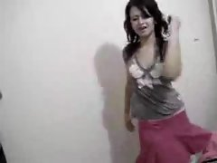 Honey in skirt dances on her webcam
