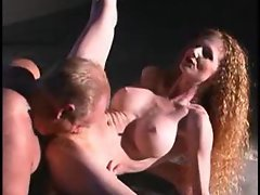 Filthy bitch with mega big melons and flawless body grinding