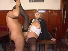 Granny in stockings wants his hard shaft