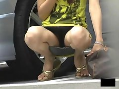 Amateur Asian upskirt models outdoors