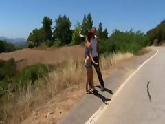 Graceful playboy chick drilled on a motorcycle outdoor
