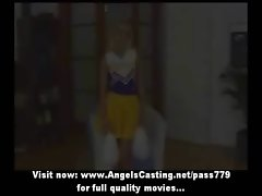 Amateur amazing light-haired cheerleader undressing and gets her twat caressed