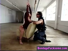 Buxom bondage slutty girl whipped