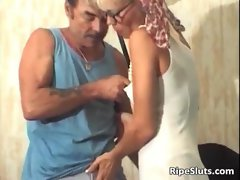 Lewd aged blond gets shaggy lactating snatch