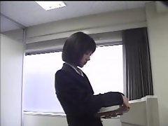 Jap Secretary Wears Vibrating sex toy Under Pantyhose
