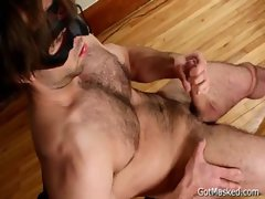 Hirsute pierced chap jerking off his prick gay porn