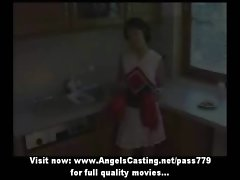 Wonderful excellent short hair dark haired cheerleader undressing in the kitchen