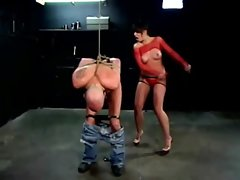 Penny Flame gets a mans teensy penis wild with some flogging