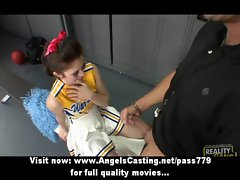 Amazing tempting redhead cheerleader doing dick sucking in the locker
