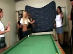 A game of pool leads them into a gangbang of his mouth