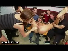 Bound and gagged chick caressed and screwed and fisted in sandwich shop